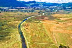 Colorful Gacka valley field and river aerial summer view. Lika region of Croatia stock photos