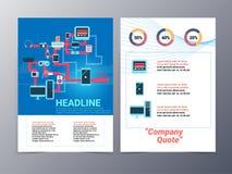 Colorful gadget and media brochure design template vector mock u Stock Photo