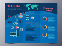 Colorful gadget and media brochure design template vector mock u Stock Image