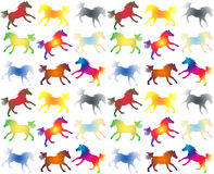 Colorful galloping horses on white Stock Image