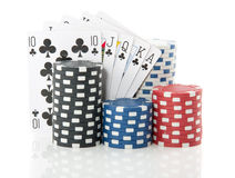Colorful gambling cards and chips Stock Photos