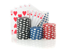 Colorful gambling chips and cards Stock Photos