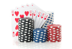 Colorful gambling chips and cards Stock Photography