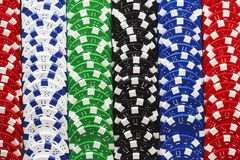 Colorful Gambling Chips In A Row Royalty Free Stock Images