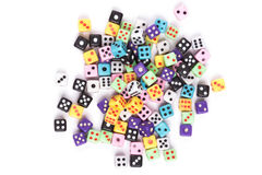 Colorful gambling dice isolated on white. Colorful scattered gambling dice isolated on white background. Flat lay. Above view stock photos