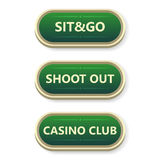 Colorful  gambling and poker buttons with text. Royalty Free Stock Images