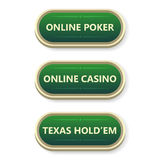 Colorful  gambling and poker buttons with text. Stock Photos