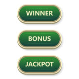 Colorful  gambling and poker buttons with text. Colorful  gambling and poker buttons with text Royalty Free Stock Photos