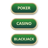 Colorful  gambling and poker buttons with text. Royalty Free Stock Image