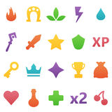 Colorful  gaming icons set. Assets set for game design and web application. Royalty Free Stock Photo