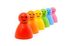 Colorful gaming pieces smiling Stock Photo
