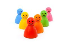 Colorful gaming pieces smiling isolated Royalty Free Stock Images