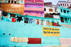 Colorful Ganges River waterfront dwellings Stock Images