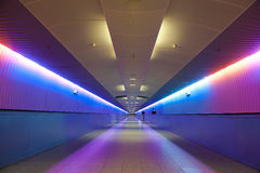 Gangway and stairway. Colorful lightshow over the gangway -  stairway at the airport of Frankfurt/Main, Germany Royalty Free Stock Photo