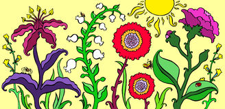 Colorful garden flowers on bright summer background vector illustration. stock illustration