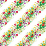 Colorful garden flowers Seamless pattern Stock Photos