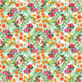 Colorful garden flowers Seamless pattern Royalty Free Stock Photo