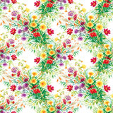 Colorful garden flowers Seamless pattern Stock Photography
