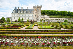 Colorful garden at a french chateau Royalty Free Stock Photography