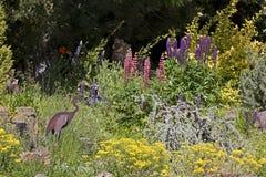 Colorful Garden With Iron Bird Sculpture Royalty Free Stock Photos