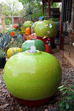 Colorful garden pots. Garden pots, a fountain and other ornaments displayed for sale in a garden center Stock Photo