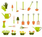 Colorful Garden tools set - vector illustration. Royalty Free Stock Image