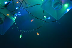 Colorful garland on the chandelier Stock Photography