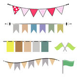 Colorful of garland and cute flags vector Royalty Free Stock Photos