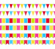 Colorful garland flags seamless border set vector background.  Stock Photo