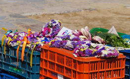 Colorful garland at Mykonos,Greece. Royalty Free Stock Photography