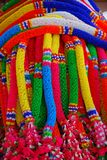 Colorful garlands. Close up of colorful plastic rainbow garlands Royalty Free Stock Images