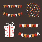 Colorful garlands and bunting flags on dark background. Holiday set. Royalty Free Stock Images