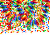 Colorful garlands and confetti over white. Background. carnival or birthday party decoration Royalty Free Stock Images