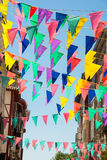Colorful garlands decorating the streets of the city of Bayonne. During the summer festival (fetes de Bayonne) in august Royalty Free Stock Photography