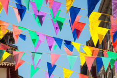 Colorful garlands decorating the streets of the city of Bayonne. During the summer festival (fetes de Bayonne) in august Stock Photography
