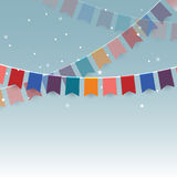 Colorful garlands festive flags and confetti Royalty Free Stock Image