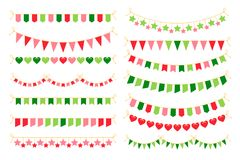 Colorful garlands with flags. Carnival design element. Colorful garlands with flags. Carnival design elements for congratulation banners and birthday Stock Photo
