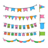 Colorful Garlands and Flags Vector Illustration Stock Photos