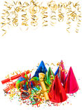 Colorful garlands, golden serpentine and confetti Stock Photo