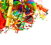 Colorful garlands, streamer and confetti Royalty Free Stock Image