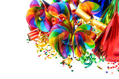 Colorful garlands, streamer, party hats, confetti Stock Images