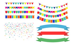Colorful Garlands on white background. Vector Illustration of Colorful Garlands on white background. Colorful festive buntings Ribbons, Confetti and flags Royalty Free Stock Image