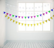 Colorful garlands in white style empty room with wooden table. Close up Stock Photo