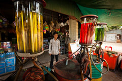Colorful gas pumps at Cambodian gas station Stock Photos