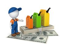 Colorful gasoline jerrycan and pack of dollars Stock Image