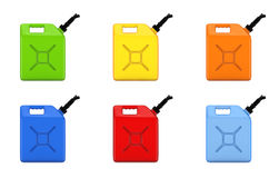 Colorful gasoline jerrycans Stock Images