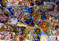 Colorful Gaudi mosaic background. Gaudi mosaic in Guel Park Stock Image