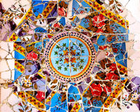 Colorful Gaudi mosaic background. Gaudi mosaic in Guel Park Stock Photos