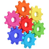 Colorful gear wheels isolated on white Stock Image