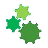 Colorful gears. Three green gears isolated in white background Stock Photography